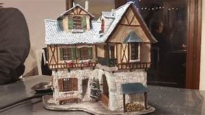 Maison De Noel Miniature : maison miniature pour village de no l ferme auberge en 1900 avec clairage int rieur pi ce ~ Nature-et-papiers.com Idées de Décoration