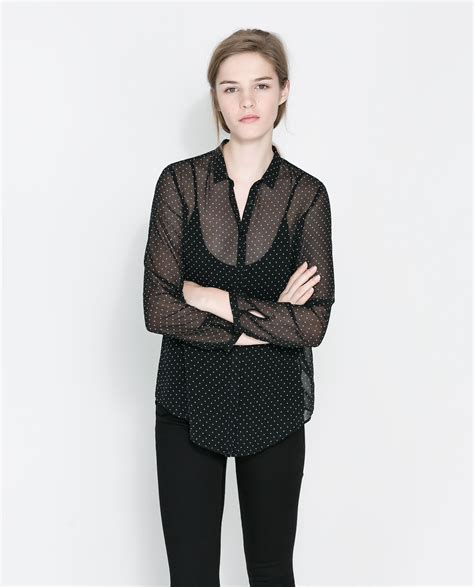 zara blouse zara polka dot sheer blouse in black black ecru lyst