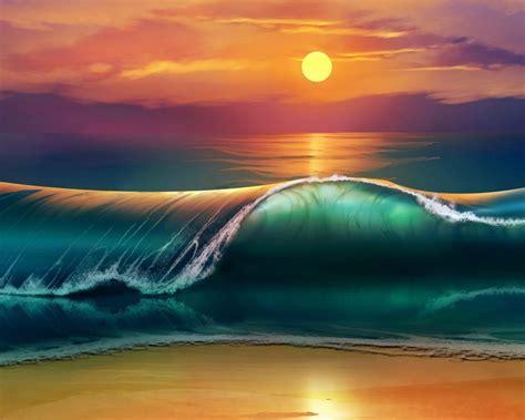 sunset sea waves beach  ultra hd wallpapers  desktop