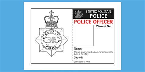 police identity badge role play template people