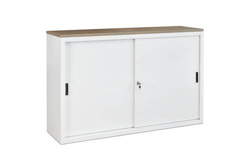 armoire de bureau porte coulissante 160ls armoire basse à portes coulissantes h76xl160xp45cm