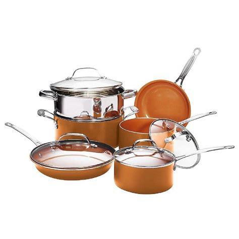 gotham steel  piece copper  stick ti ceramic  cookware set  lids   home depot