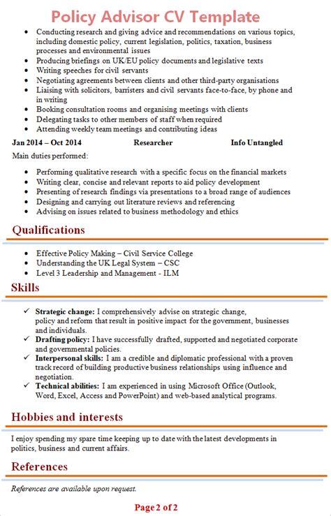 policy advisor cv template