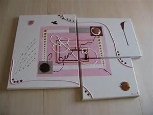 Tableau Rose Et Gris : tableau abstrait rose bonbon tableaux abstraits contemporains ~ Teatrodelosmanantiales.com Idées de Décoration