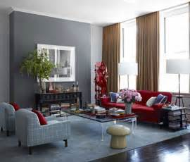 sofa combined with brown curtain and gray wall paint for living room color scheme