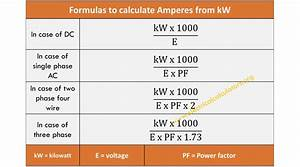 Ampere Conversion Table