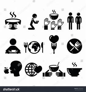 Hunger Starvation Poverty Icons Set Stock Vector 470472620 ...