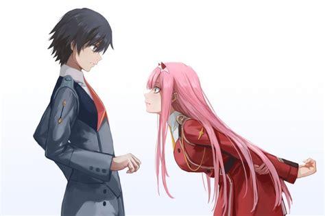 Darling in the franxx, zero two x hiro, romance, couple, profile view. Wallpaper Zero Two X Hiro, Darling In The Franxx, Pink ...