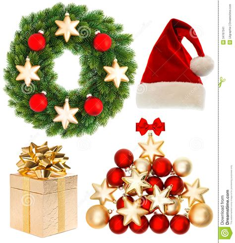 christmas collection isolated on white background stock