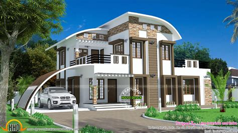 wrap around house plans house curved roof style kerala home design floor plans