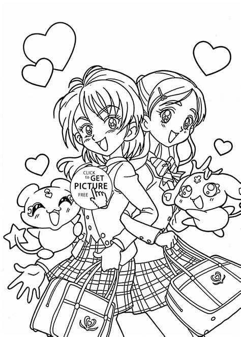 Funny Pretty Cure Anime Coloring Page For Kids Manga