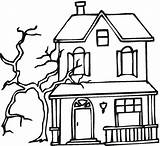 Coloring Haunted Pages Printable sketch template