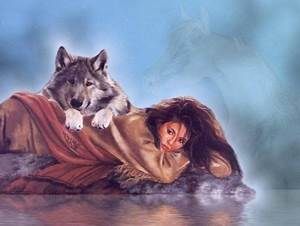 fantasy wolf art wallpaper | girl and wolf - indian, girl ...