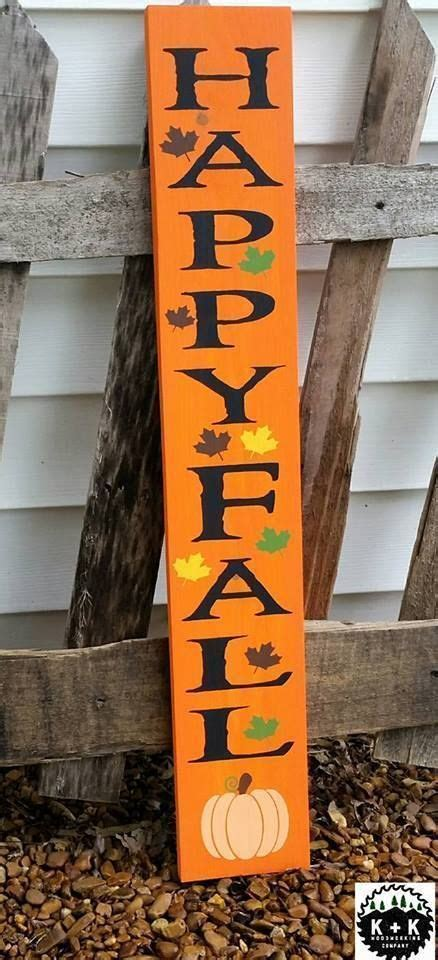 Large Primitive Wooden Vertical Sign Happy Fall