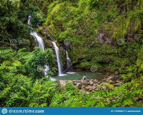Road to hana is a beautiful curvy road that brings you to countless waterfalls and incredible volcanic sites. Maui, Hawaii Hana Highway, Three Bears Falls Upper Waikani ...