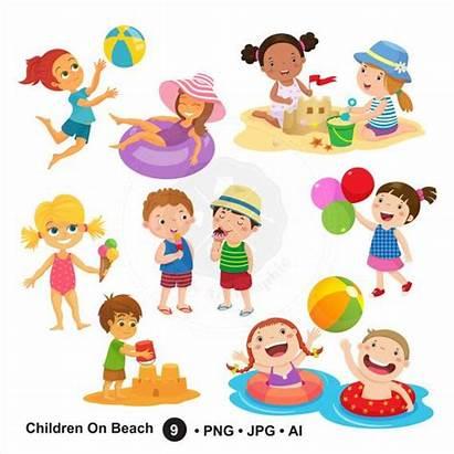 Clipart Summer Beach Children Clip Digital Cartoon