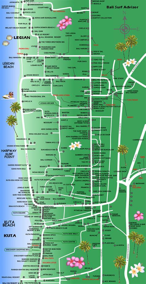 kuta map detail maps bali indonesia