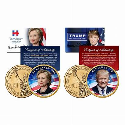 Trump Coin Dollar Presidential Clinton President Donald
