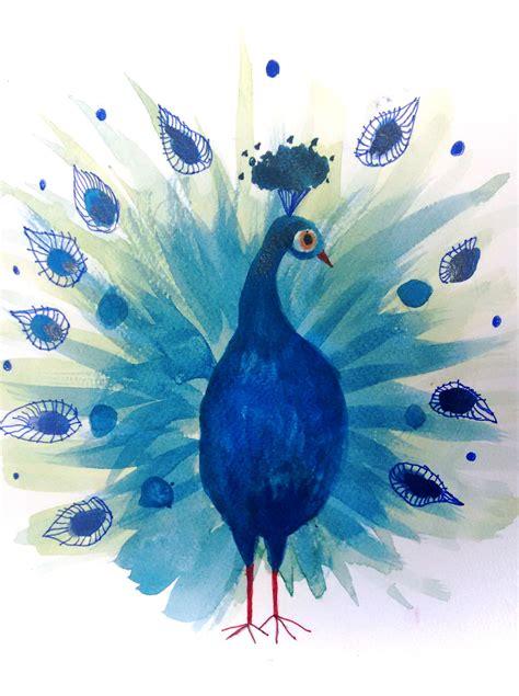 peafowl watercolour gel pens wwwmyartdublincom