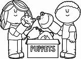 Puppet Coloring Pages Puppets Playing Marionette Theater Fresh Printable Getcolorings Getdrawings Wecoloringpage sketch template