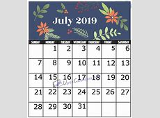 July 2019 Calendar Printable Template with Holidays PDF