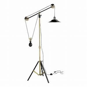 Julius adjustable tripod floor lamp in bronze effect metal for Bronze effect floor lamp