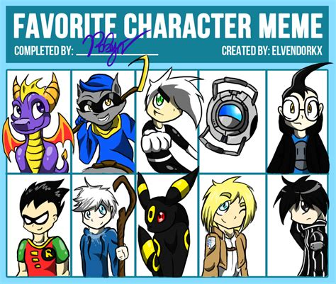 Favorite Character Meme - favorite character meme by robynthedragon on deviantart