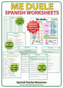 Af Pay Chart Worksheets To Practice The Spanish Verb Doler Me Duele