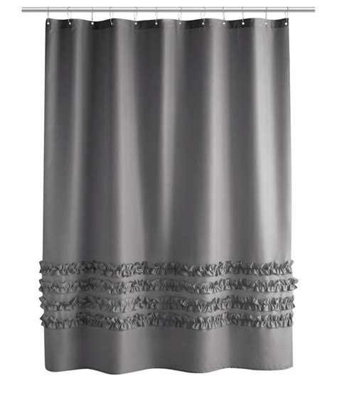 grey ruffle blackout curtains 1000 ideas about gray shower curtains on