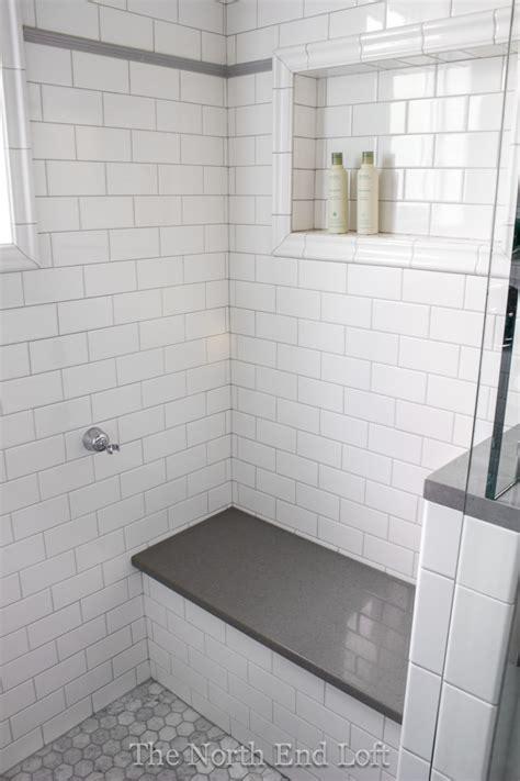 white shower tile the north end loft master bathroom reveal