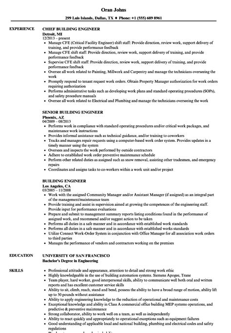 Resume Building by Building Engineer Resume Sles Velvet