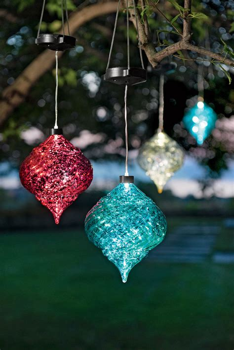 large outdoor ornaments hanging solar