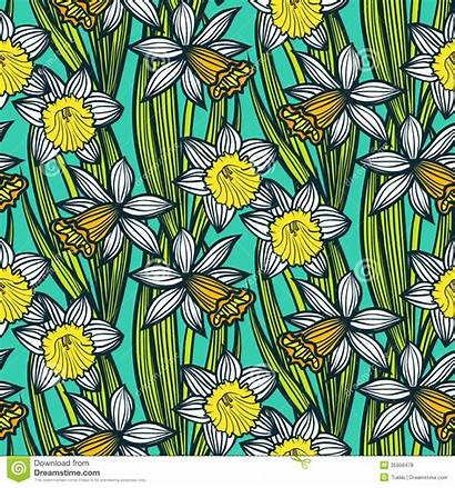 Pattern Daffodils Narcissen Narcissus Narzisse Narzissen Weinlesemuster