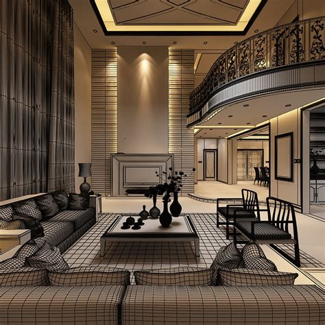 Elegant Living Room With Balcony 3d Model .max