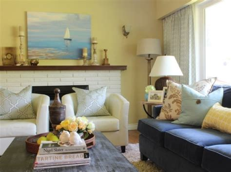 Blue Yellow And Beige Living Room by S Pink Beige Yellow Living Room Before After