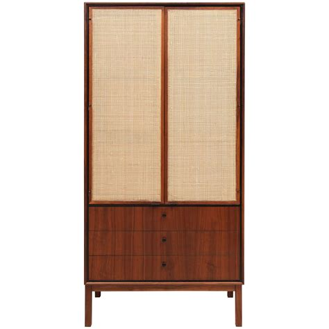 tall cabinet with drawers tall walnut and cane cabinet with drawers at bottom at 1stdibs