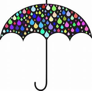Clipart - Prismatic Rain Drops Umbrella Silhouette