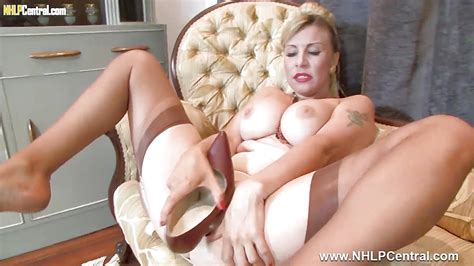 Sexy Blonde Fucks Heels In Vintage Nylons And Lingerie
