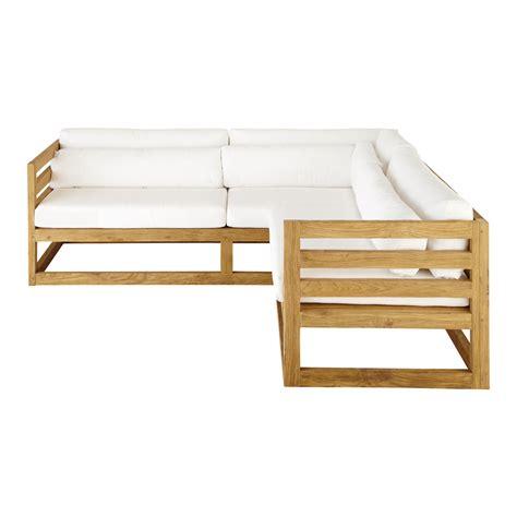 canapé teck canapé d 39 angle de jardin 3 4 places en teck cyclades