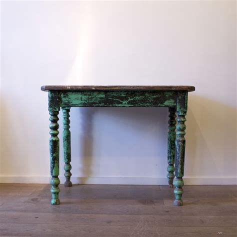 french vintage green distressed wooden bistro table