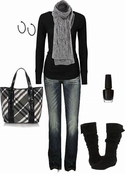 Outfits Winter Outfit Jeans Polyvore Casual Fall