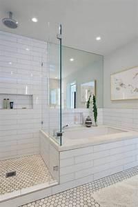 le carrelage hexagonal une tendance qui fait son grand With salle de bain douche italienne et baignoire