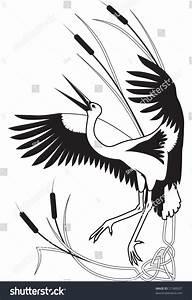 Black White Frame Corner Stork Bulrush Stock Illustration ...