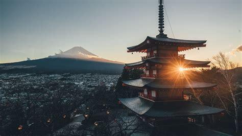 mount fuji japan city landscape scenery