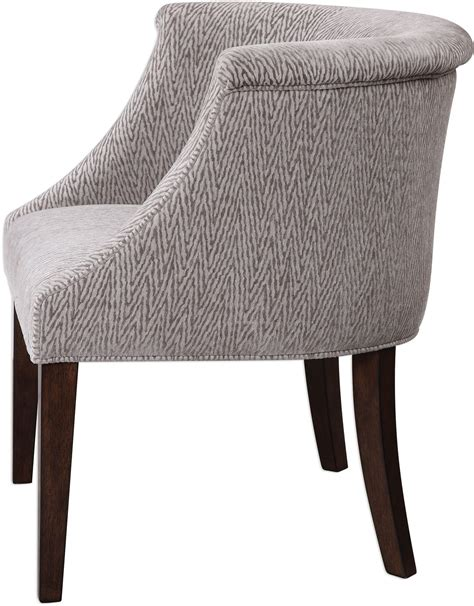arthure gray barrel back accent chair 23345 uttermost