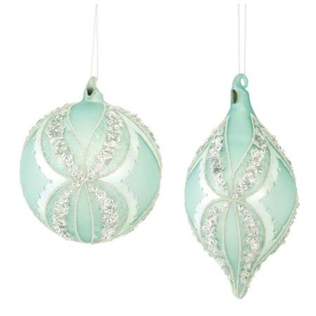 us mint christmas ornaments set of 6 beaded mint green and silver hanging ornaments 6 quot walmart