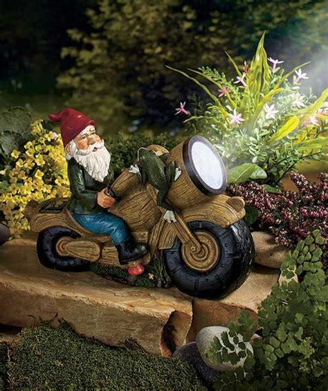 solar powered spot light harley biker garden gnome