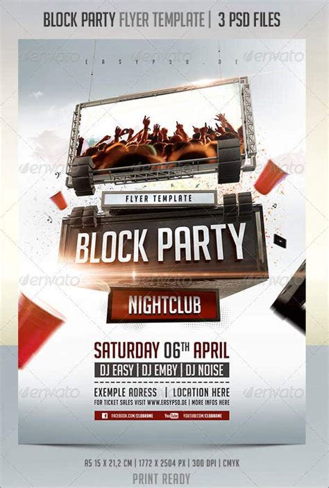 amazing block party flyer designs psd ai indesign