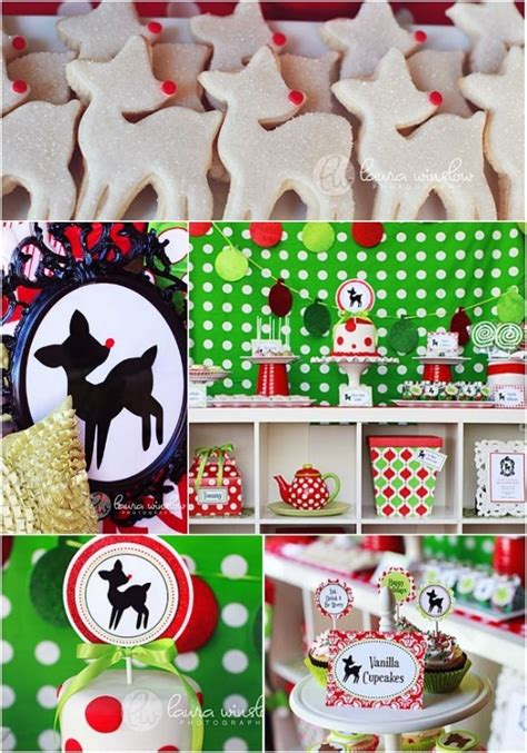 vintage rudolph christmas birthday party ideas christmas