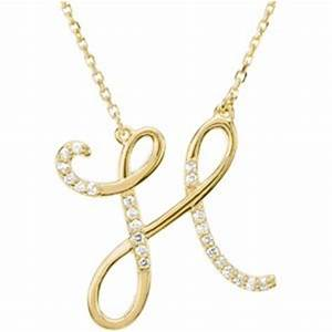 14k Yellow Gold Alphabet Initial Letter H Diamond Necklace ...